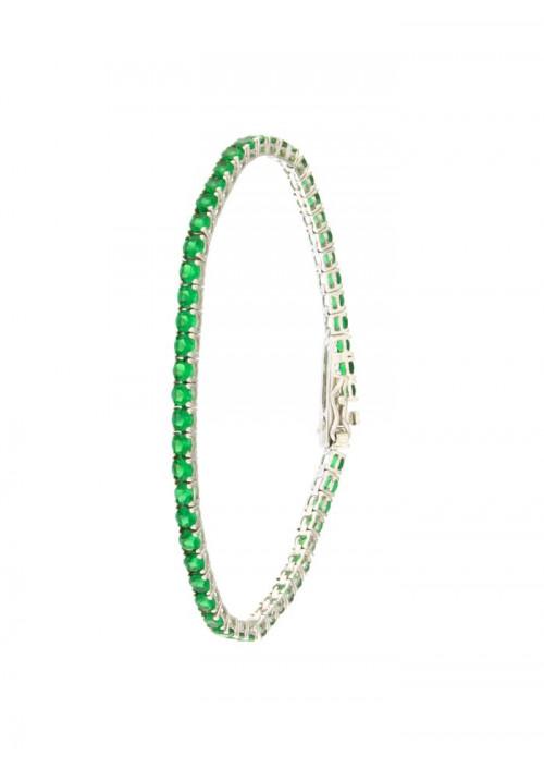 Bracciale Tennis in Argento  - Modello Emerald Brilliant - BRTEN14
