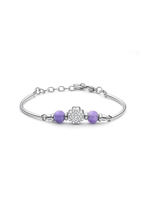 Bracciale Brosway - Collezione Tres Jolie Mini - Quadrifoglio centrale e pietre in giada viola e cristalli Swarovski