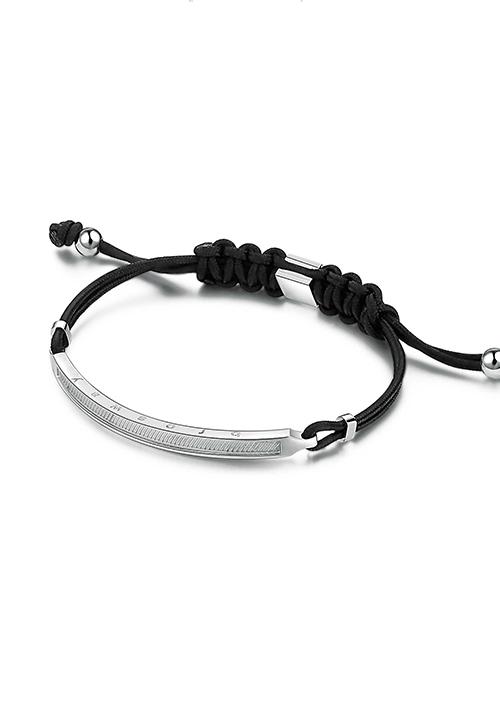 Bracciale Brosway Uomo  - Cordoncino e acciaio - Collezione Black - bkl12
