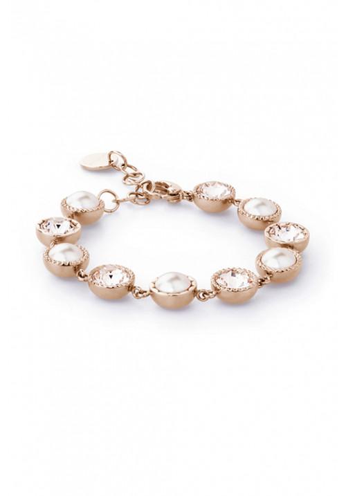 Bracciale Brosway in pvd oro rosa - Collezione Riflessi - con perle e cristalli Swarovski Elements - BRF12