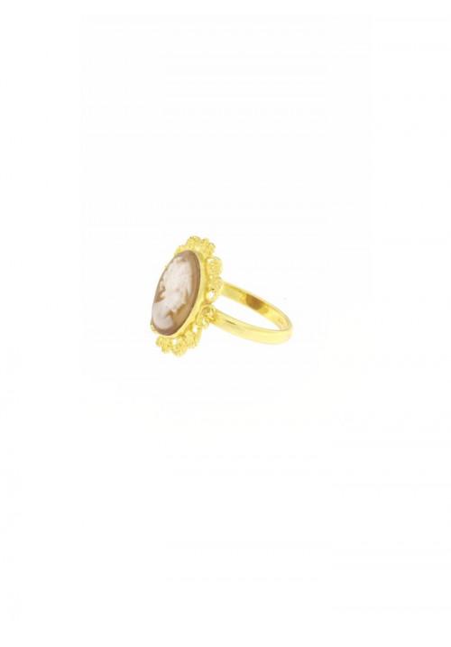Anello Cammeo naturale in Oro 18 Kt - CMAN05ORO
