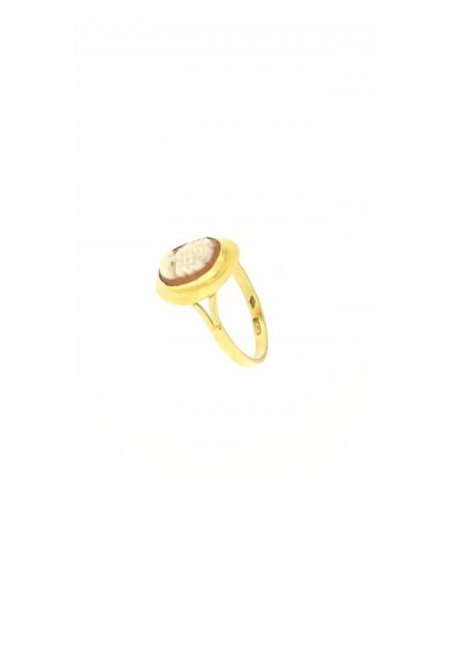 Anello Cammeo naturale in Oro 18 Kt - CMAN06ORO
