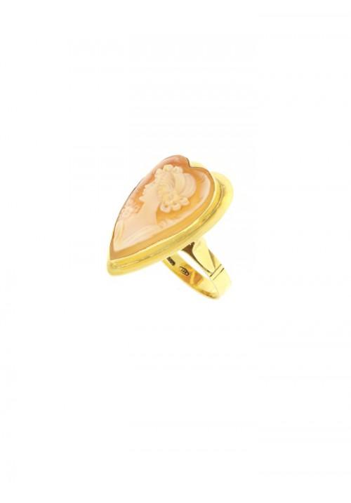 Anello Cammeo naturale in Oro 18 Kt - CMAN07ORO