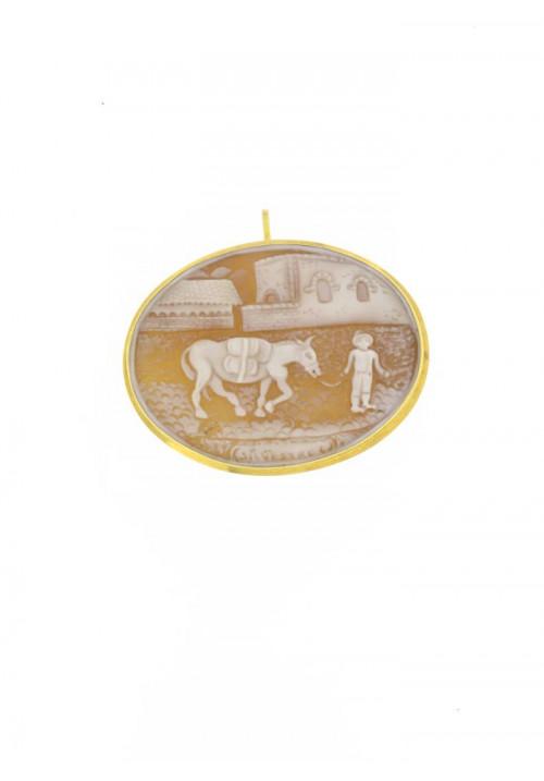 Ciondolo Spilla Cammeo in conchiglia naturale - Oro 18 kt - CMCNSP06ORO