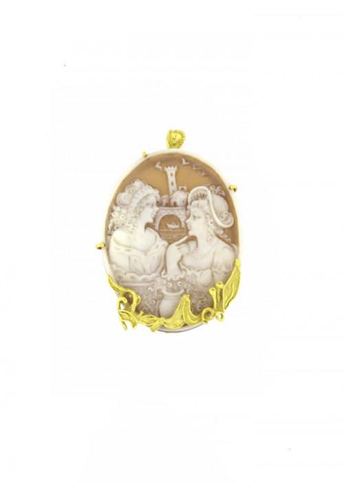 Ciondolo Spilla Cammeo in conchiglia naturale - Oro 18 kt - CMCNSP12ORO
