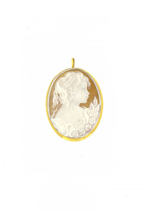 Ciondolo Spilla Cammeo in conchiglia naturale - Oro 18 kt - CMCNSP14ORO