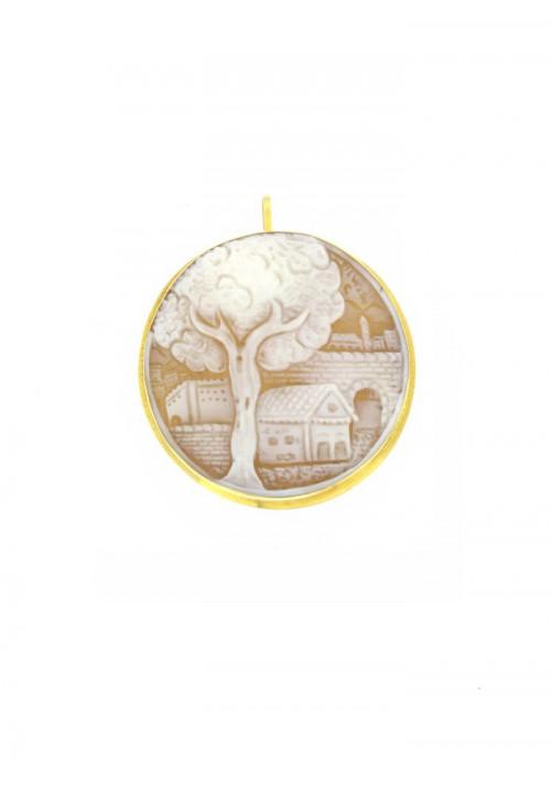 Ciondolo Spilla Cammeo in conchiglia naturale - Oro 18 kt - CMCNSP16ORO
