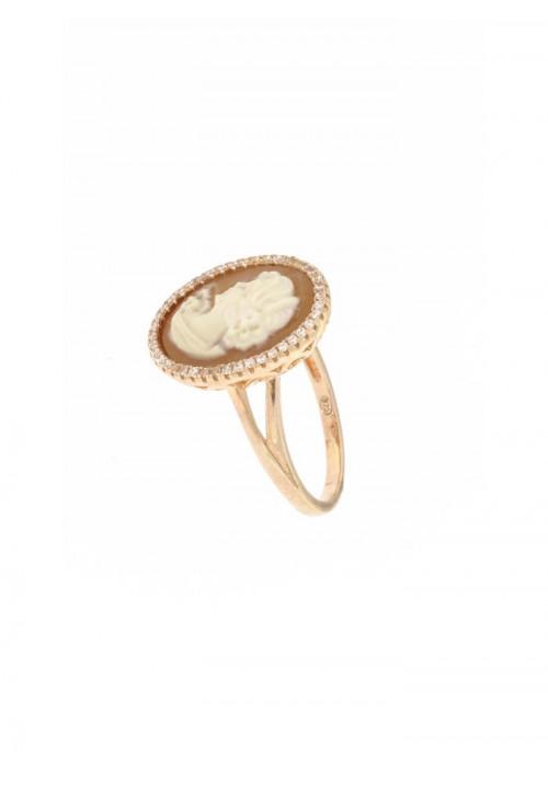 Anello Cammeo naturale in argento 925 - CMAN06