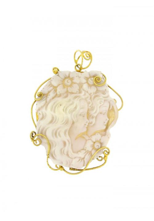 Ciondolo Cammeo naturale in argento 925 dorato - CMCN01AR