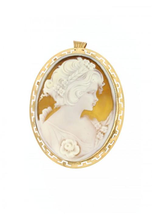 Ciondolo spilla Cammeo naturale in argento 925 rosato - CMS/P07