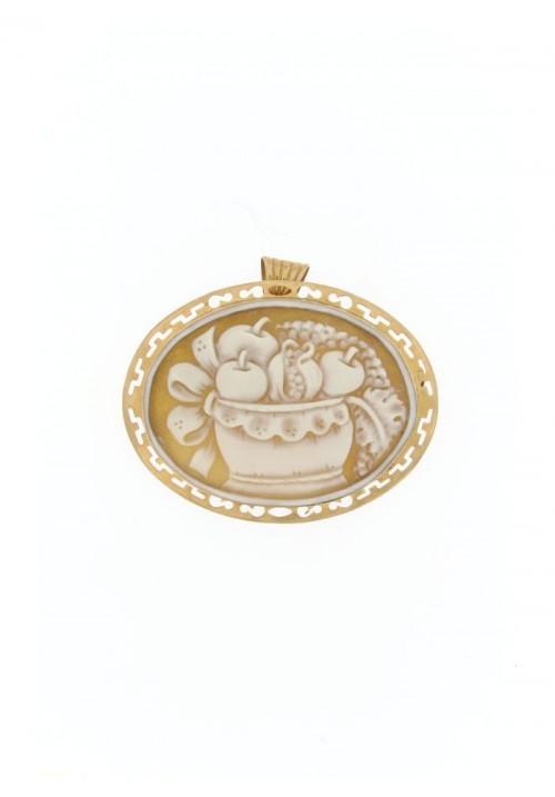 Ciondolo spilla Cammeo naturale in argento 925 rosato - CMS/P10