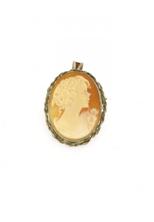 Ciondolo spilla Cammeo naturale in argento 925 - CMS/P11