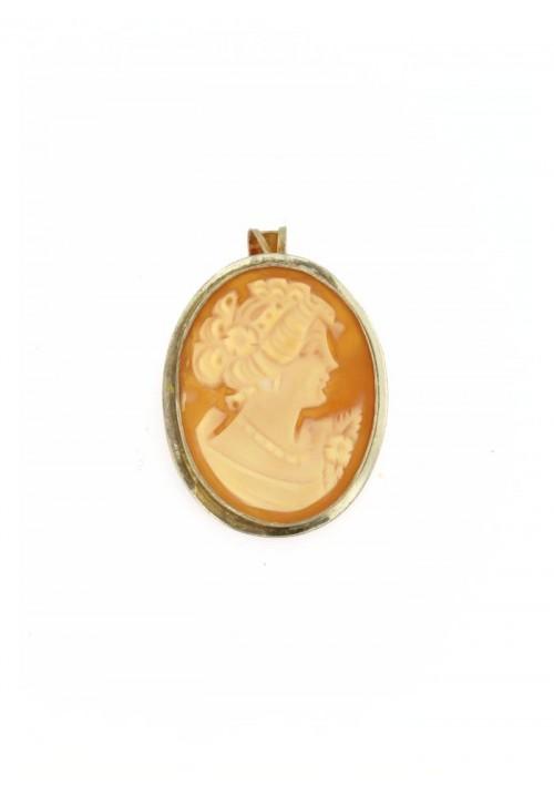 Ciondolo spilla Cammeo naturale in argento 925 - CMS/P13