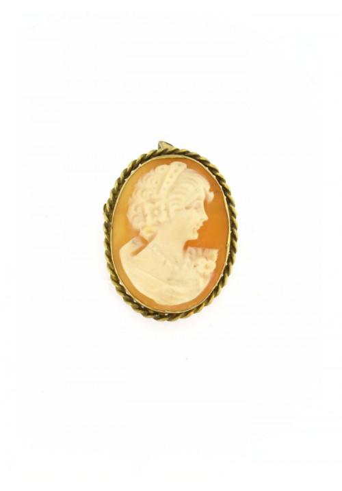 Ciondolo spilla Cammeo naturale in argento 925 dorato - CMS/P14