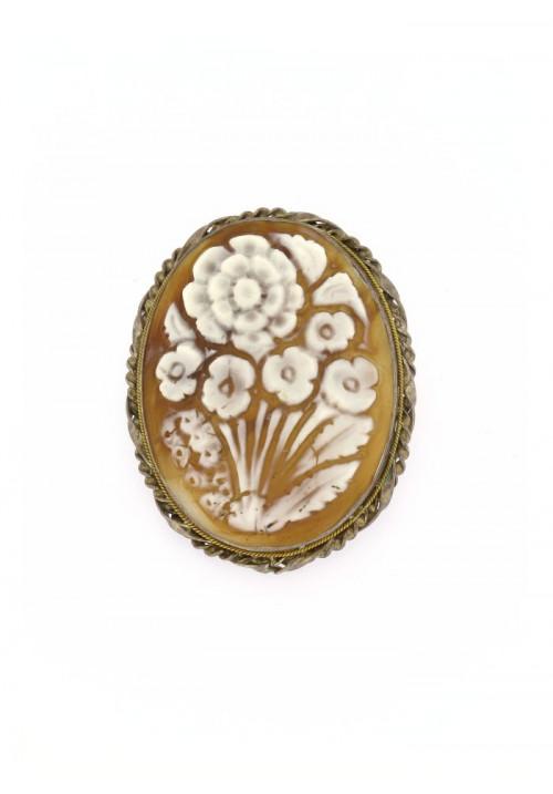 Ciondolo spilla Cammeo naturale in argento 925 - CMS/P17