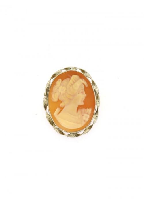Ciondolo spilla Cammeo naturale in argento 925 - CMS/P20