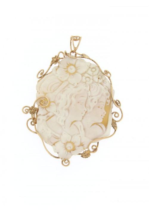 Ciondolo Cammeo naturale in argento 925 rosato - CMCN005AR