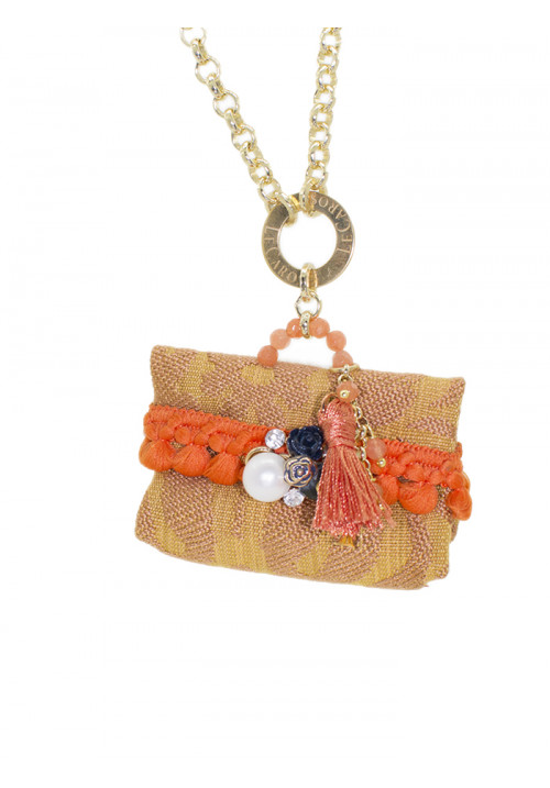 Collana Le Carose Borsetta beige e arancione