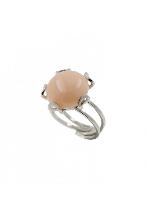 Anello in argento con bottone in corallo rosa lavorato a mano