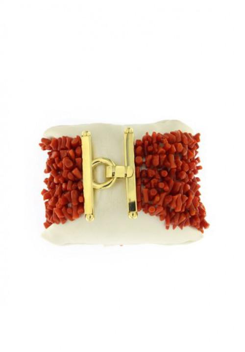 Bracciale in Corallo rosso naturale 7 fili - Argento 925 - Fatto a mano