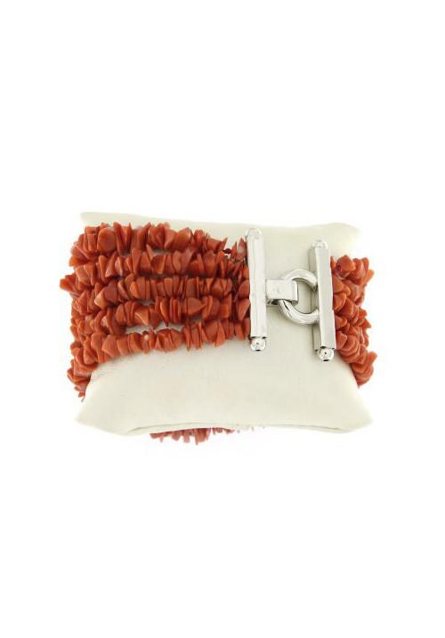 Bracciale in Corallo cerasuolo naturale 5 fili - Argento 925 - Fatto a mano