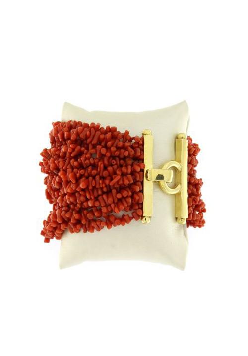 Bracciale in Corallo rosso naturale 14 fili - Argento 925 - Fatto a mano