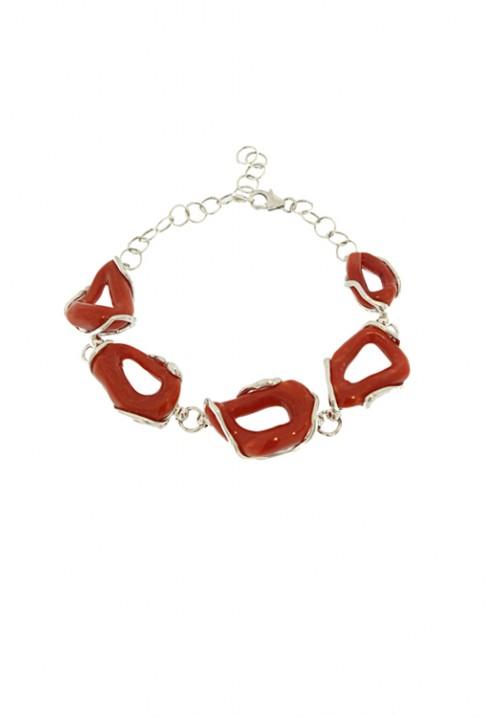Bracciale con chiusi di Corallo rosso naturale - Argento - Fatto a mano