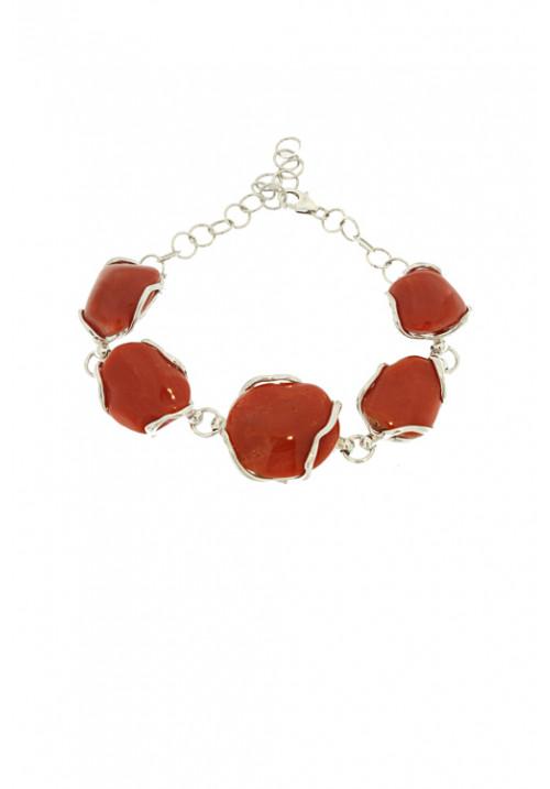 Bracciale in Corallo rosso naturale a sassi - Argento - Fatto a mano - cobr03