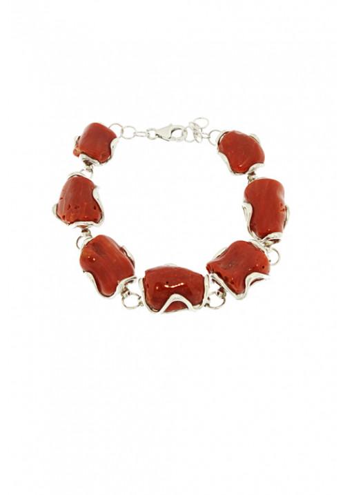 Bracciale in Corallo rosso naturale a sassi grandi - Argento - Fatto a mano - cobr04