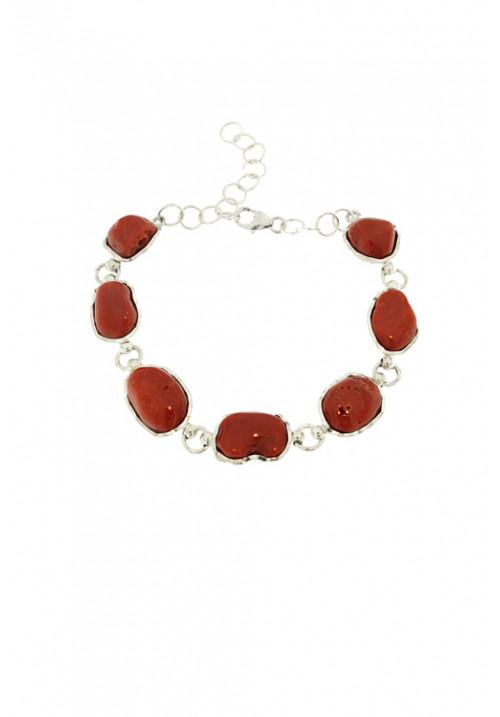 Bracciale in Corallo rosso naturale a sassi - Argento - Fatto a mano