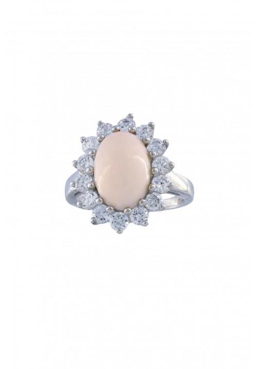 Anello in corallo rosa - Argento 925 e Zirconi incastonati - COAN09
