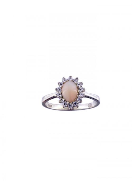 Anello in corallo rosa - Argento 925 e Zirconi incastonati - COAN11