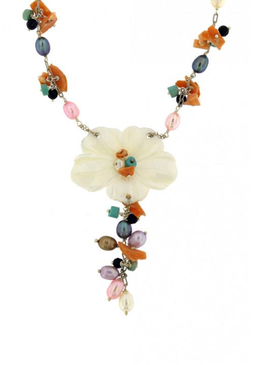 Collana artigianale con corallo perle e madreperla - Argento