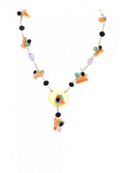 Collana artigianale con corallo onice perle e madreperla - Argento