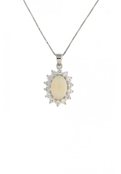 Collana con pendente corallo rosa - Argento 925 e zirconi - cocn18