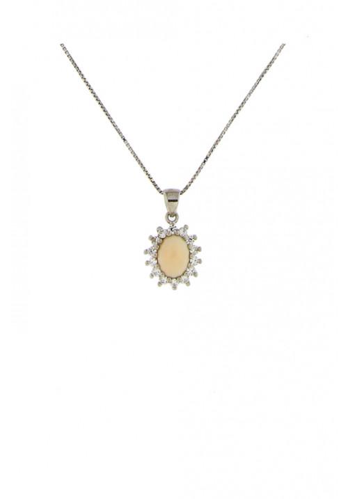 Collana con pendente corallo rosa piccolo - Argento 925 e zirconi - cocn19