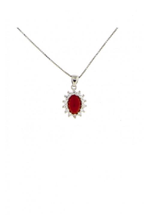 Collana con pendente corallo rosso - Argento 925 e zirconi - cocn20