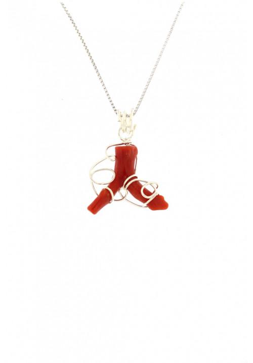 Collana con ciondolo ramo di corallo naturale montato a mano in argento - cocn30