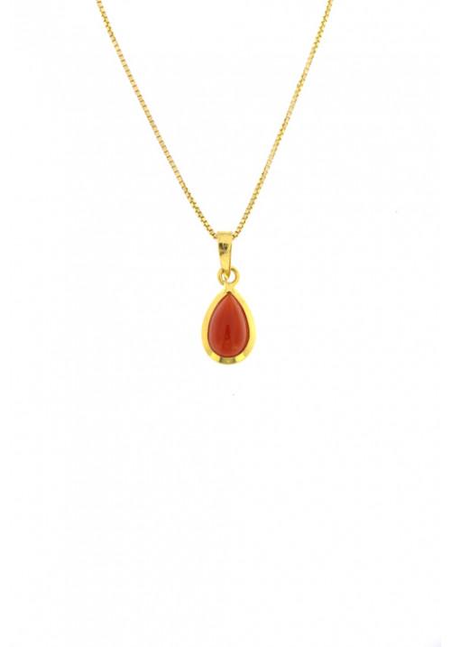 Collana con pendente goccia di corallo rosso naturale - Argento dorato