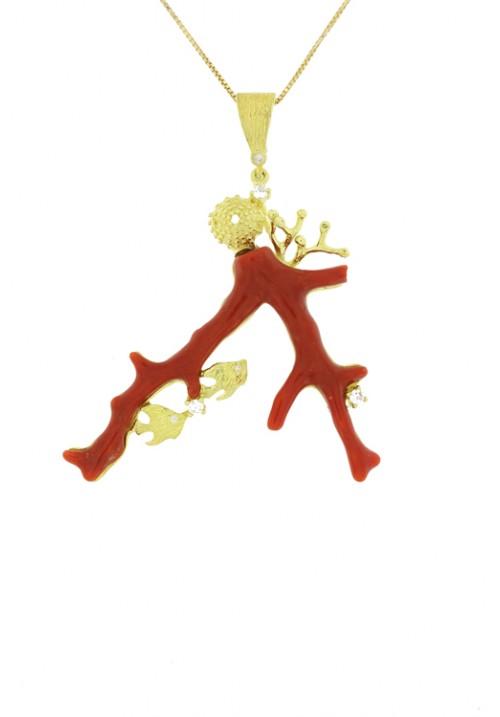 Collana artigianale con pendente ramo di corallo rosso - Argento dorato