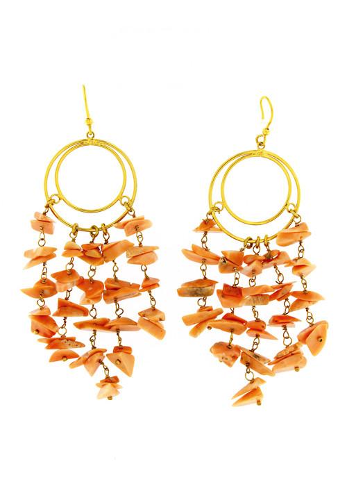 Orecchini corallo rosa salmone pendenti - Argento dorato
