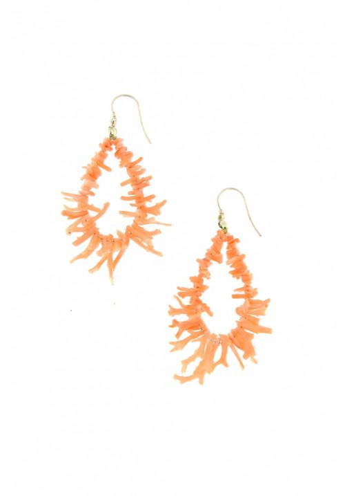 Orecchini pendenti con rami di corallo rosa in argento - coor33