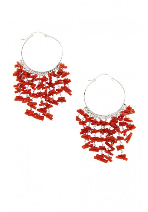 Orecchini cerchio argento - corallo rosso pendenti