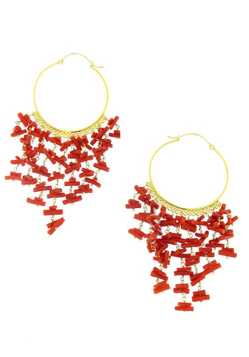 Orecchini cerchio argento dorato - corallo rosso pendenti - coor36