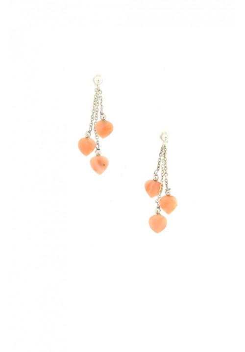 Orecchini con cuori di corallo rosa pendenti - Argento