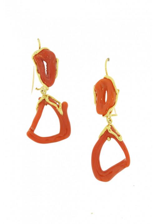 Orecchini pendenti corallo rosso - Argento dorato