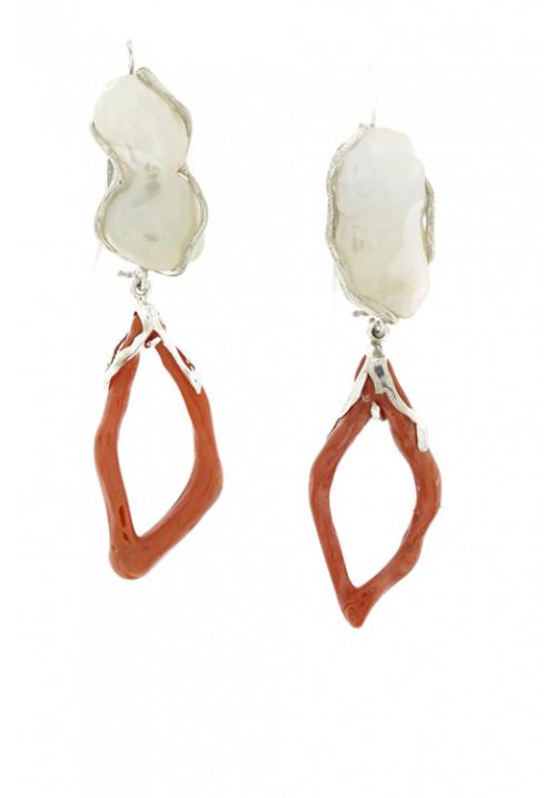 Orecchini pendenti perle barocche e corallo naturale - Argento 925 - coor47