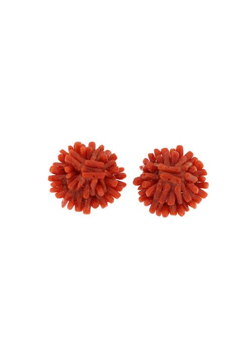 Orecchini clips in argento e corallo naturale rosso