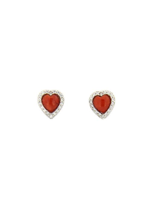 Orecchini a cuore in argento, corallo mediterraneo e zirconi