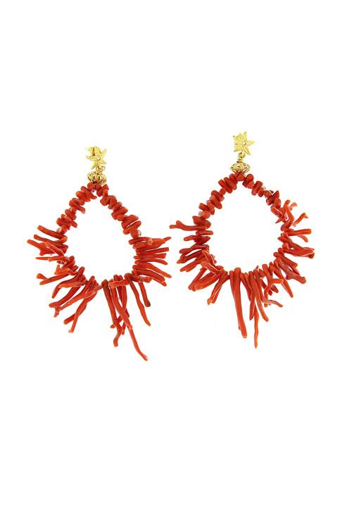 Orecchini pendenti con rametti corallo naturale rosso e argento dorato